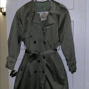 double breasted london fog trench coat olive sz 6